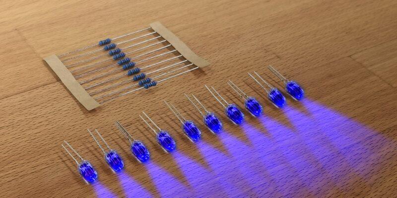 Produktbild 10er Satz LED mit Widerstand einfarbig. Blau