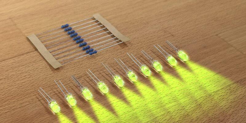Produktbild 10er Satz LED mit Widerstand einfarbig. Gelbgrün