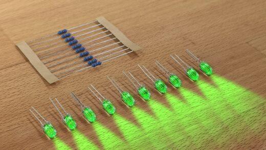 Produktbild 10er Satz LED mit Widerstand einfarbig. Grün