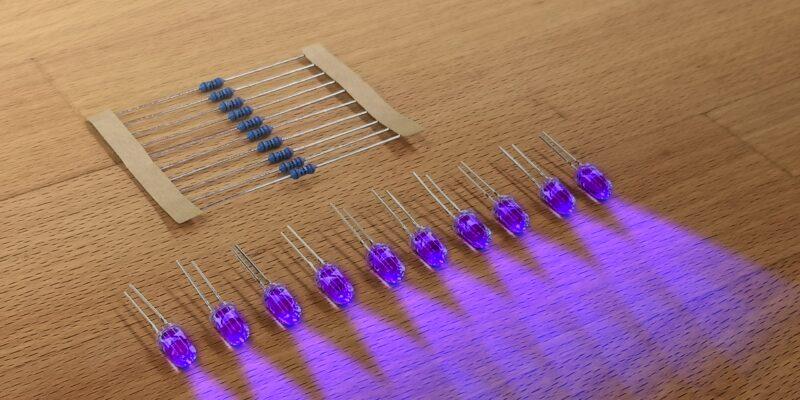 Produktbild 10er Satz LED mit Widerstand einfarbig. UV