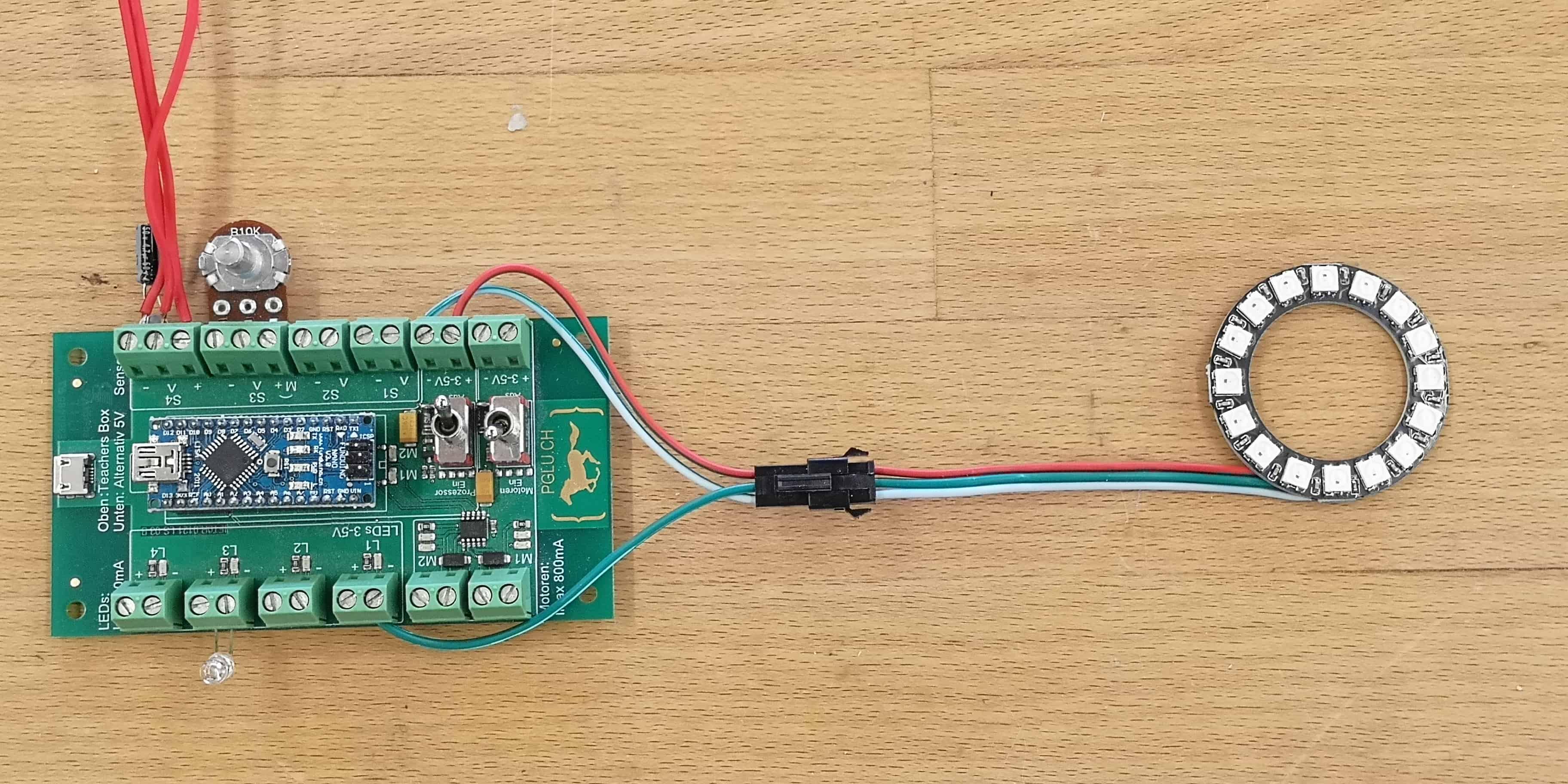 Neopixel Ring mit Mikrocontroller verbinden