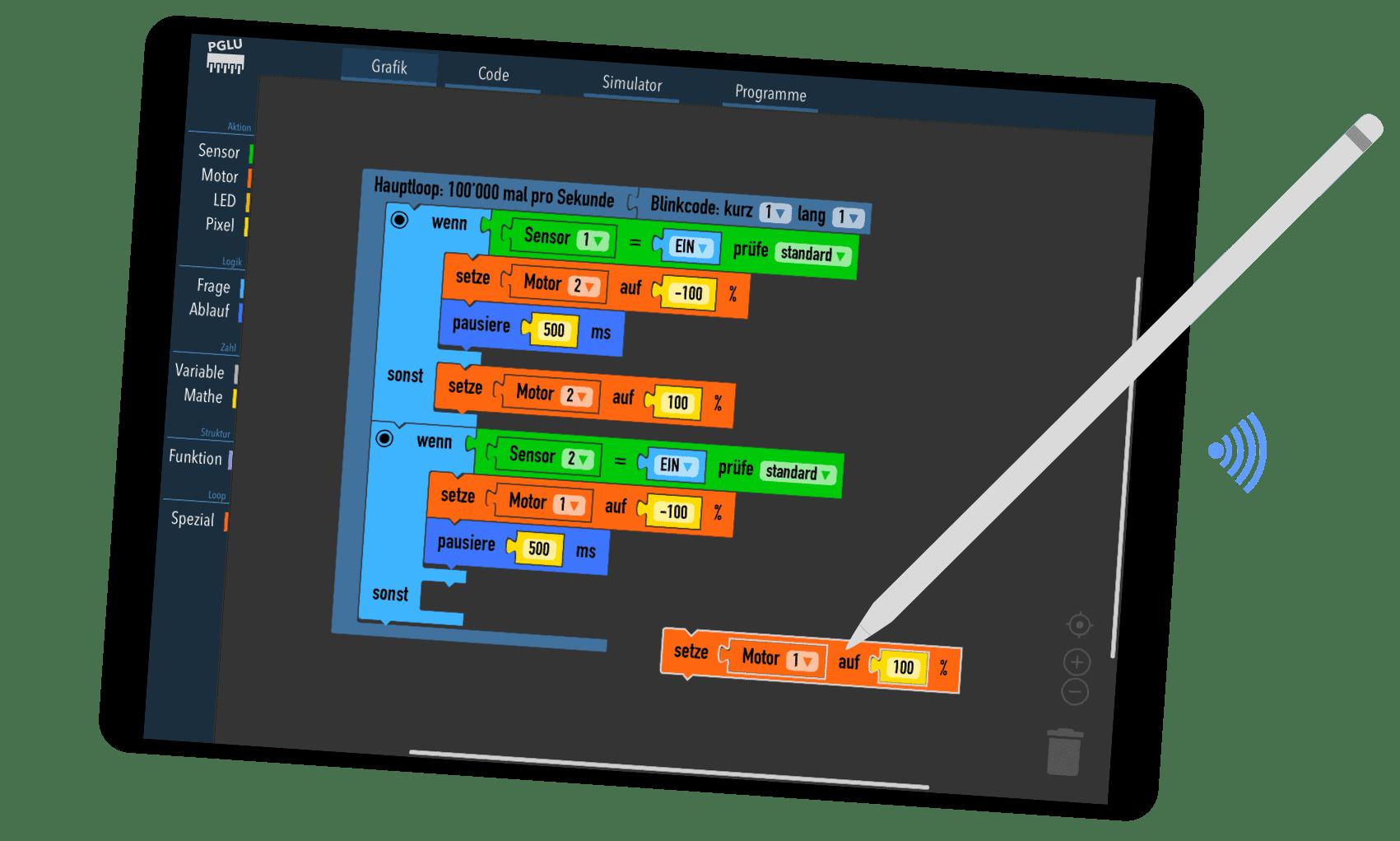 Grafischer Block Editor zum Programmieren von Arduino