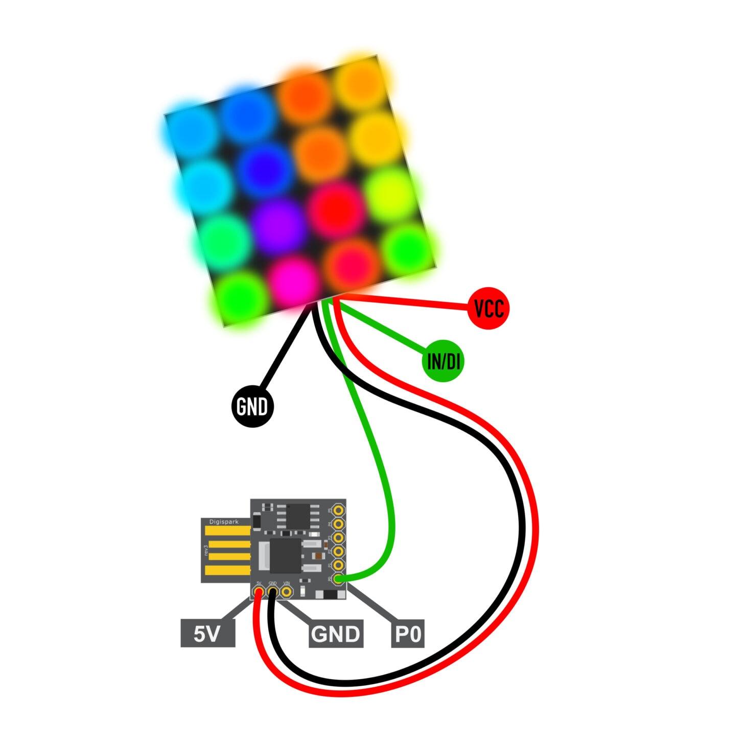 ATtiny85 mit USB von Digispark mit Neopixel