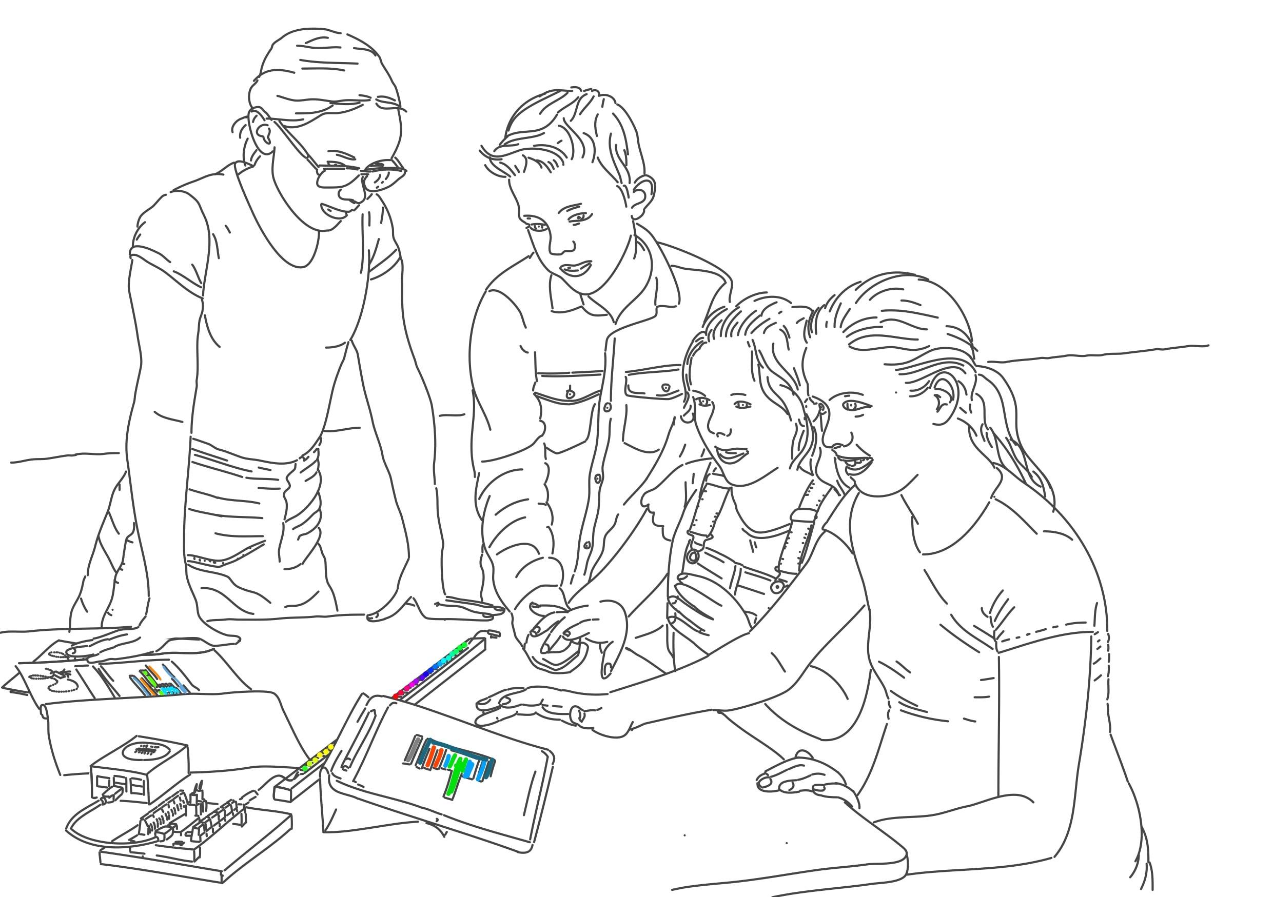 Schüler*innen arbeiten mit dem grafischen Editor und Neopixeln