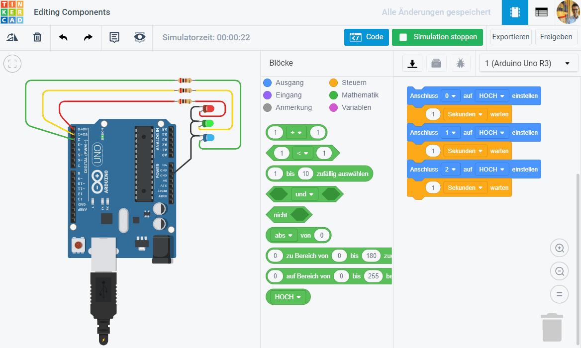 TinkerCad Circuits mit grafischer Programmierung und Editor für elektrische Schaltungen mit dem Arduino UNO. Klicke den Button oben, um die Pins des UNO mit den Pins des PGLU-Mikrocontrollers zu verstehen.